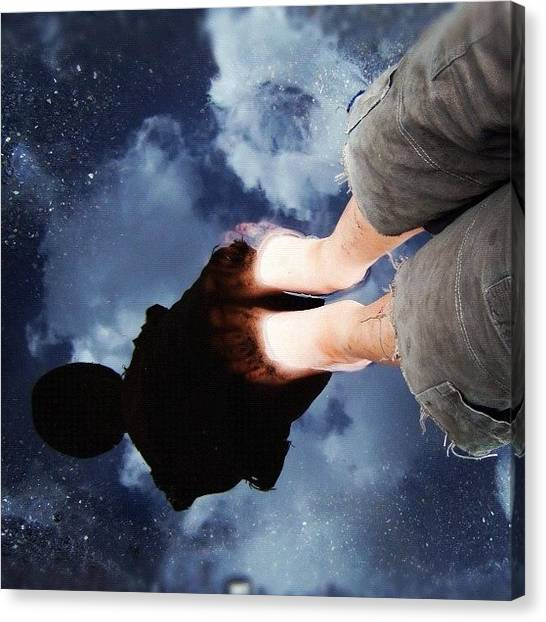 Feet Canvas Print - Reflection Of Boy In A Puddle Of Water by Matthias Hauser