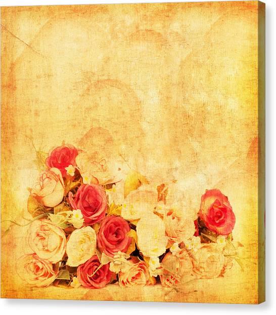 Abstract Rose Canvas Print - Retro Flower Pattern by Setsiri Silapasuwanchai