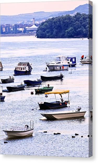 Danube Canvas Print - River Boats On Danube by Elena Elisseeva