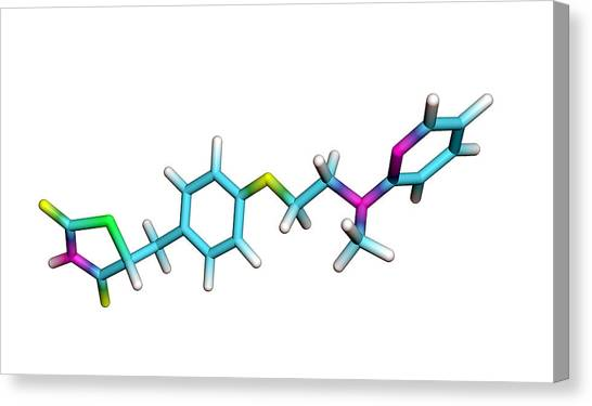 Rosiglitazone Diabetes Drug Molecule Canvas Print by Dr Tim Evans