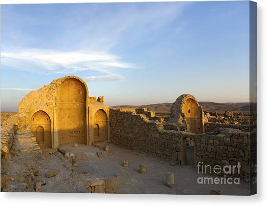 Negev Desert Canvas Print - Ruins Of Shivta Byzantine Church by Nir Ben-Yosef