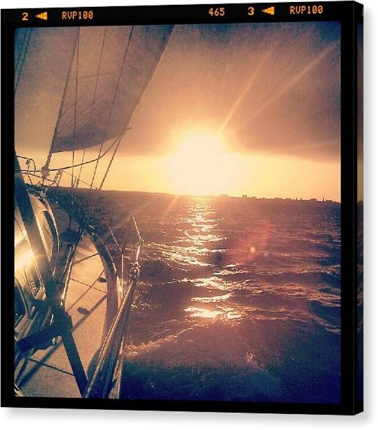 Sailboats Canvas Print - Sailing Sunset by Dustin K Ryan