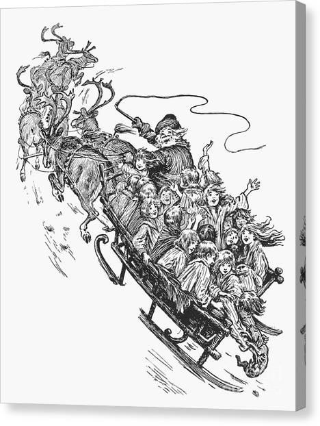 Sleds Canvas Print - Santa Claus & Sleigh by Granger
