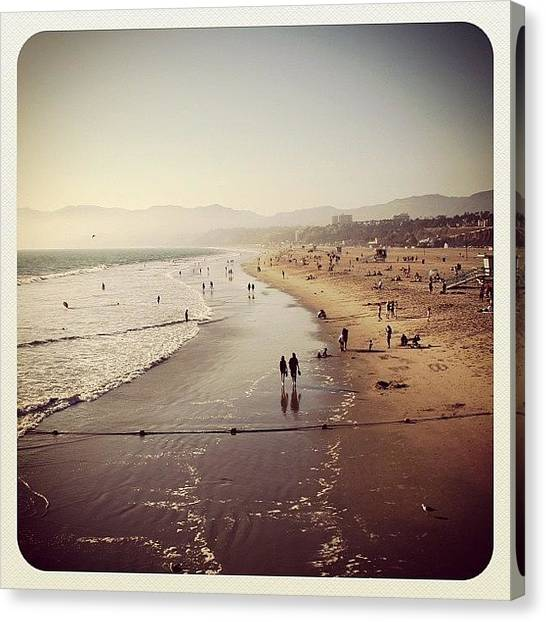 Beach Canvas Print - Santa Monica Beach by Luisa Azzolini