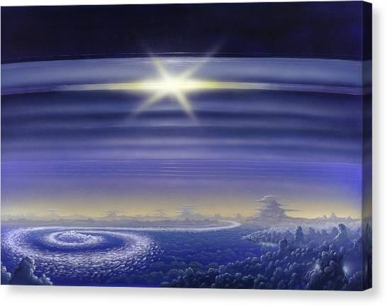 Saturn's Rings, Artwork Canvas Print by Richard Bizley