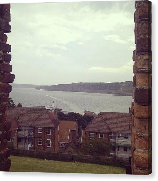 White House Canvas Print - #scarborough #sun #sky #blue #clouds by Lucy Maughan
