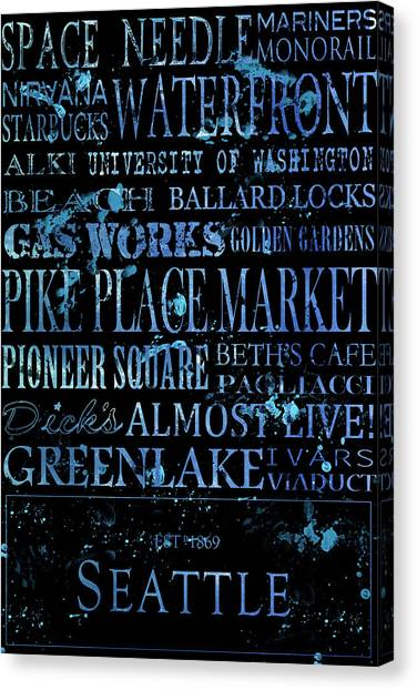 University Of Washington Canvas Print - Seattle Icons by Tanya Harrison