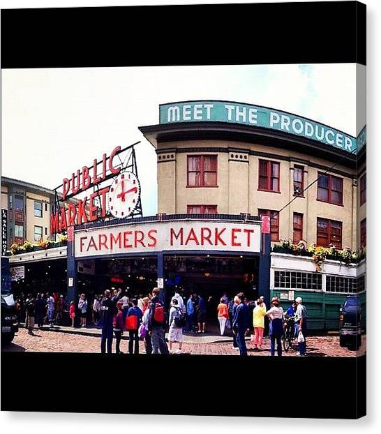 Farmers Canvas Print - Seattle Market by Jessica Wagner