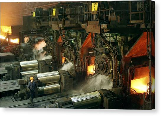 Sheet Mill Processing Molten Metal Canvas Print by Ria Novosti