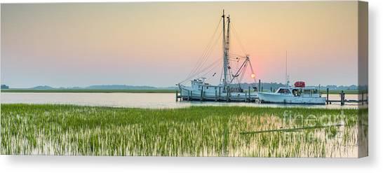 Shrimp Boats Canvas Print - Shrimp Boat Sunset  by Dustin K Ryan