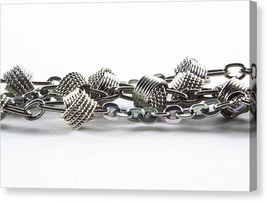 Chain Link Canvas Print - Silver Jewel Chain by Blink Images