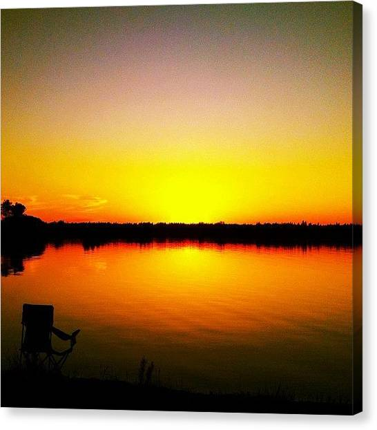 Lake Sunsets Canvas Print - #sky #skystyles_gf #gang_family by Kelsey Parisien