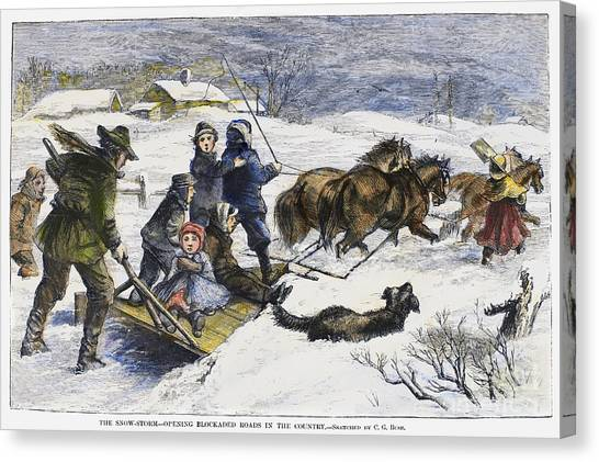 Sleds Canvas Print - Snowstorm In The Country by Granger