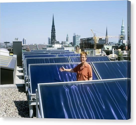 Solar Heat Collectors, Germany Canvas Print by Martin Bond
