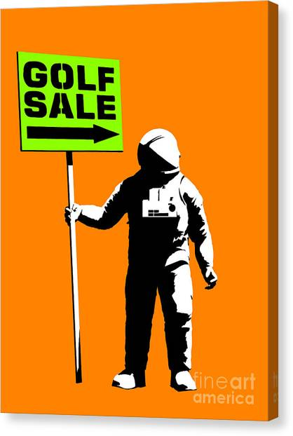 Space Suit Canvas Print - Space Golf Sale by Pixel Chimp