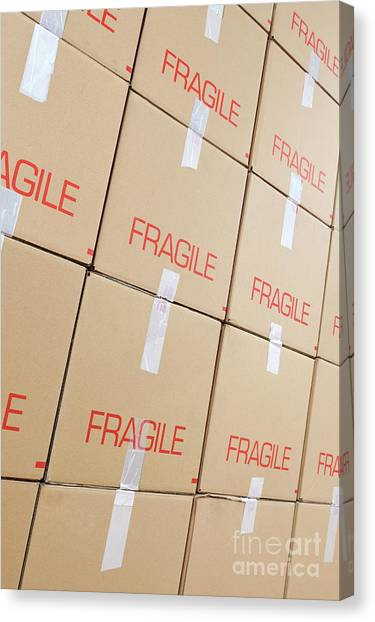 Stacks Of Cardboard Boxes Marked 'fragile' Canvas Print by Sami Sarkis