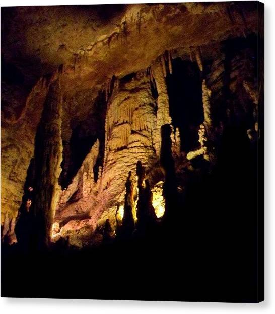 Stalactites Canvas Print - #stalactites #stalagmites #underground by Clifford McClure
