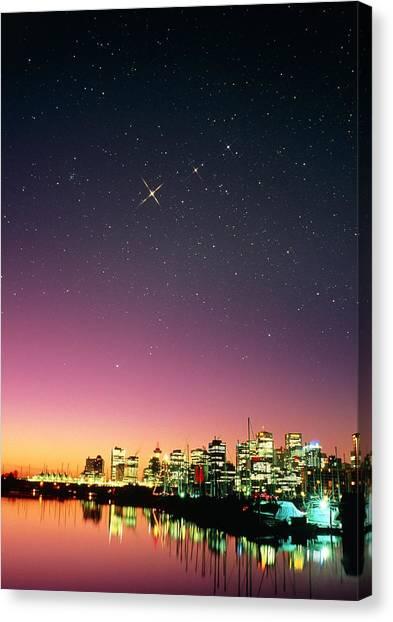 Starry Sky Over Vancouver Canvas Print by David Nunuk