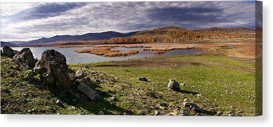 Ural Mountains Canvas Print - Stones On The Bank Of Lake by Evgeny Prokofyev