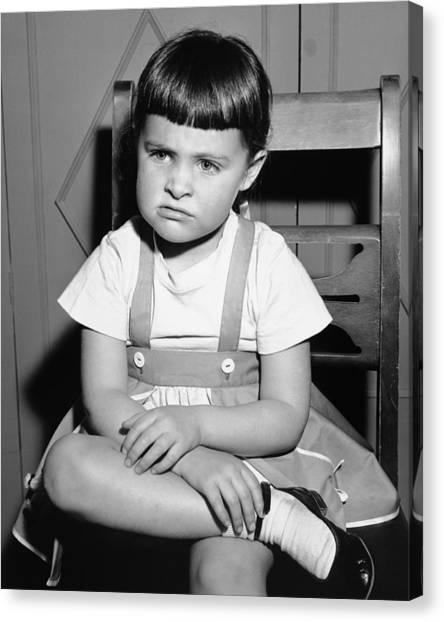 Sulking Girl (4-5) Sitting On Chair, (b&w), Canvas Print by George Marks