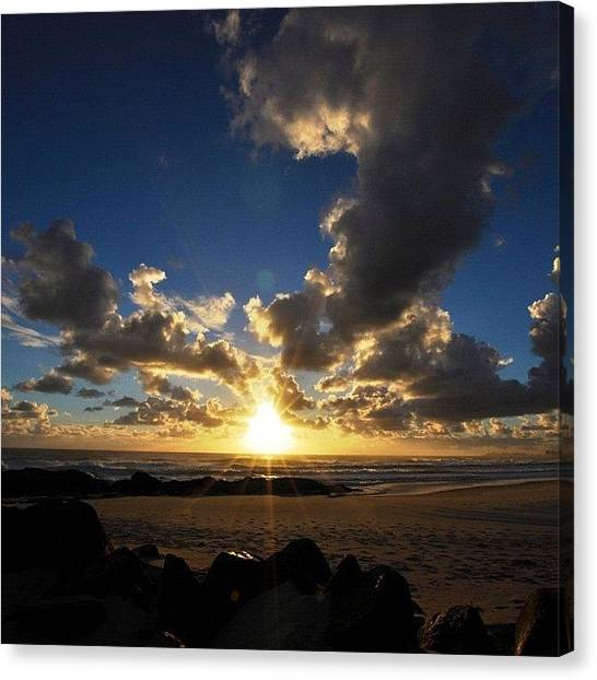 Surfing Canvas Print - #sun #sky #cloud #clouds #sunset by Brenden Mcdonough