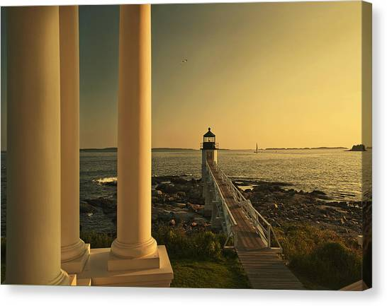 Sunset At Marshall Point Light Canvas Print