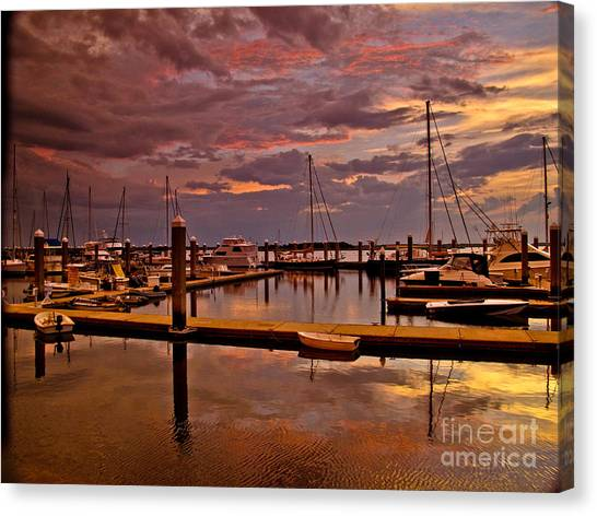 Sunset At The Marina Canvas Print by Scott Moore