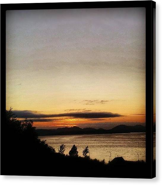 Lake Sunsets Canvas Print - #sunset #scotland #inverclyde by Gary West
