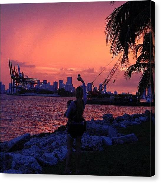 Om Canvas Print - #sunset #sun #miami #sol #south #beach by Artist Mind