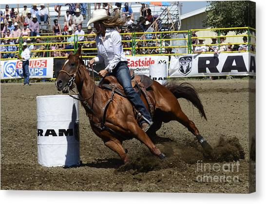 Barrel Racing Canvas Print - Rodeo Barrel Racing Teamwork by Bob Christopher