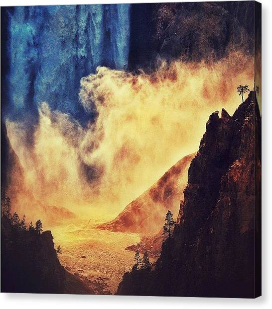 Wyoming Canvas Print - The Base Of Yellowstone Falls by Chris Bechard