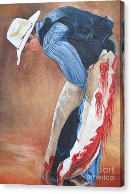 The Bull Rider Canvas Print by Barbara Haviland