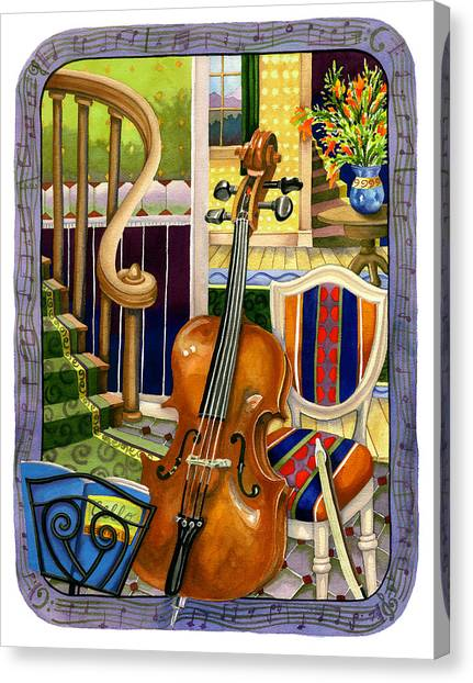 Cellos Canvas Print - The Music Lesson by Anne Gifford