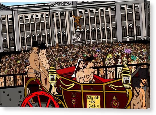 Kate Middleton Canvas Print - The Royal Nude Wedding by Karen Elzinga