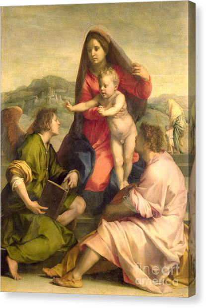 23 Canvas Print - The Virgin And Child With A Saint And An Angel by Andrea del Sarto