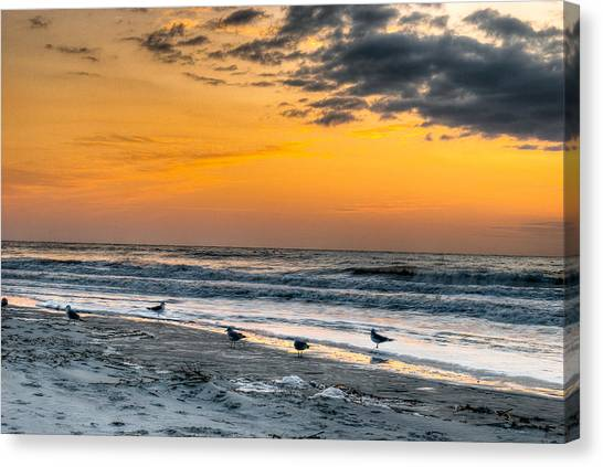 The Wintery Feeling Beach At Sunrise Canvas Print