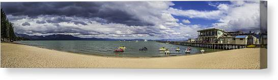 Jet Skis Canvas Print - Timber Cove Pier Lake Tahoe by Brad Scott