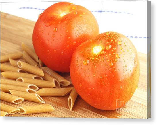 Spaghetti Canvas Print - Tomatoes And Pasta by Blink Images