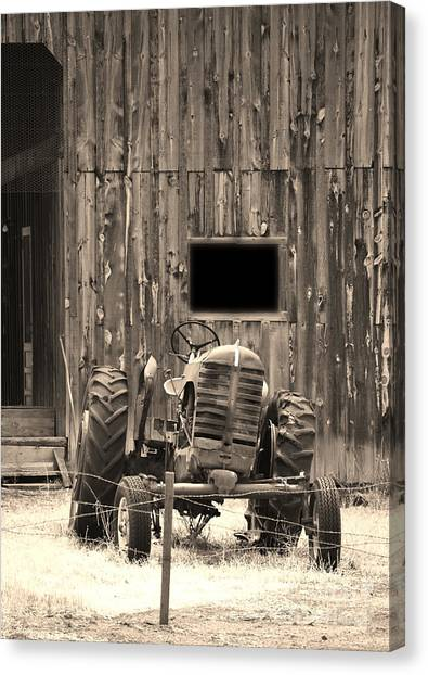 Tractor And The Barn Canvas Print