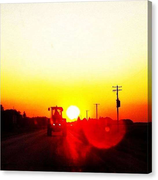 Tractors Canvas Print - #tractor #sunset #sky #skystyles_gf by Kelsey Parisien