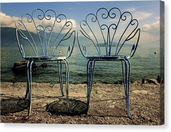 Vintage Polaroid Canvas Print - Two Chairs by Joana Kruse
