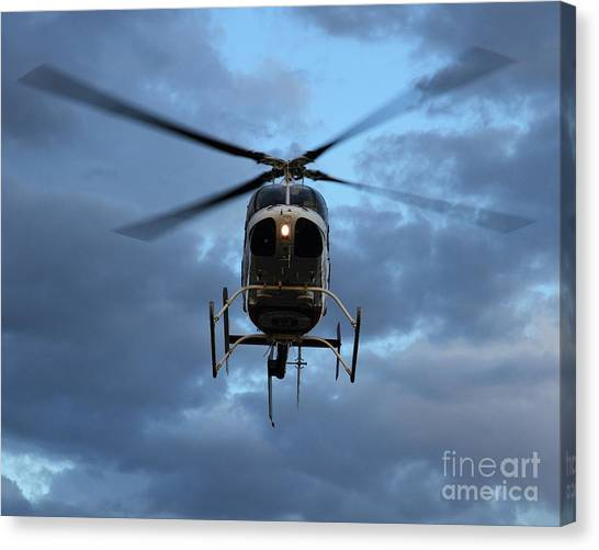 University Of Utah Canvas Print - University Of Utah Airmed Helicopter In Price Utah by Malcolm Howard