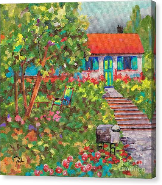 Up The Garden Path Canvas Print by Val Stokes