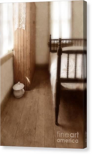 Chamber Pot Canvas Print - Vintage Bedroom by Jill Battaglia