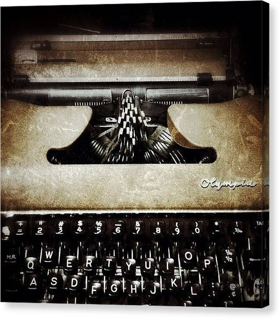 Typewriter Canvas Print - Vintage Olympia Typewriter by Natasha Marco