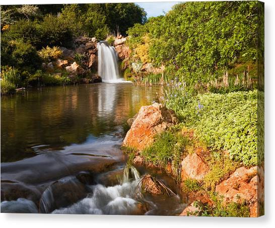 University Of Utah Canvas Print - Waterfall And Pond by Utah Images