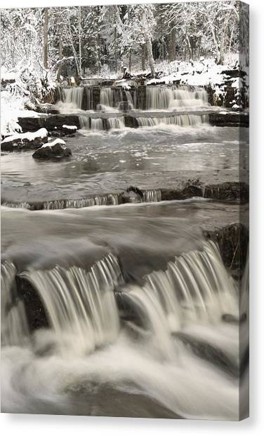 Waterfalls With Fresh Snow Thunder Bay Canvas Print