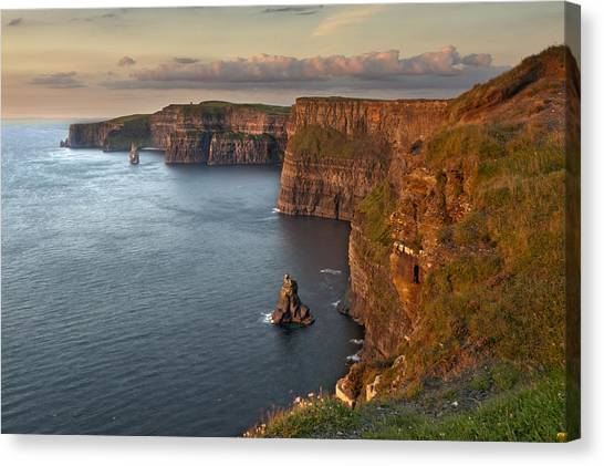 The Cliffs Of Moher Canvas Print - Waves Washing Up On Rocky Cliffs by George Karbus Photography