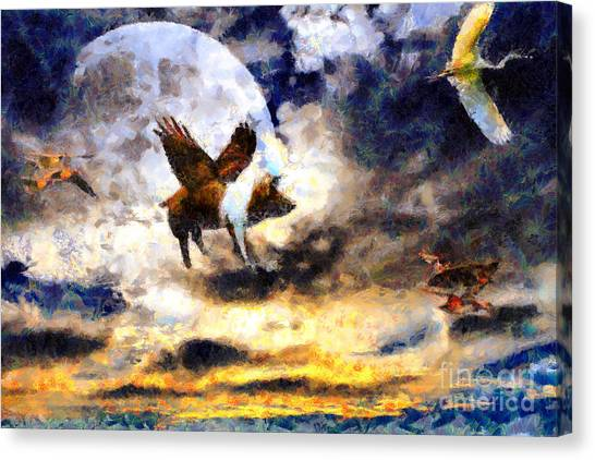 When Pigs Fly Canvas Print by Wingsdomain Art and Photography