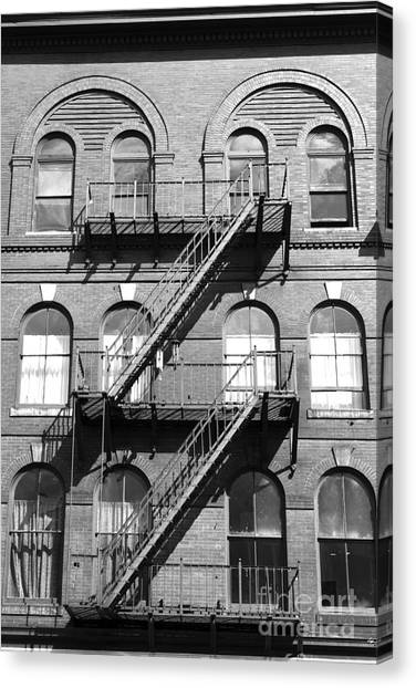 Windows And Fire Escapes Bangor Maine Architecture Canvas Print by John Van Decker